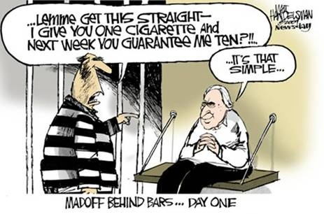 Funny Bernie Madoff behind bars cartoon ripping off inmates with his cigarette ponzi scheme